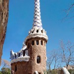 Verical panorama, gingerbread house, surreal Gaudi architecture.