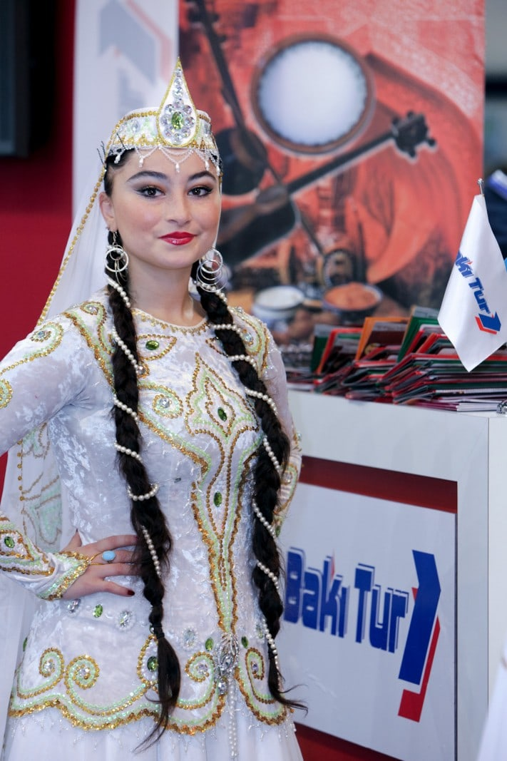 Photograph of promo-girl in traditional dress at WTM