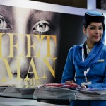 photograph of promo-girl dressed as cabin crew at WTM