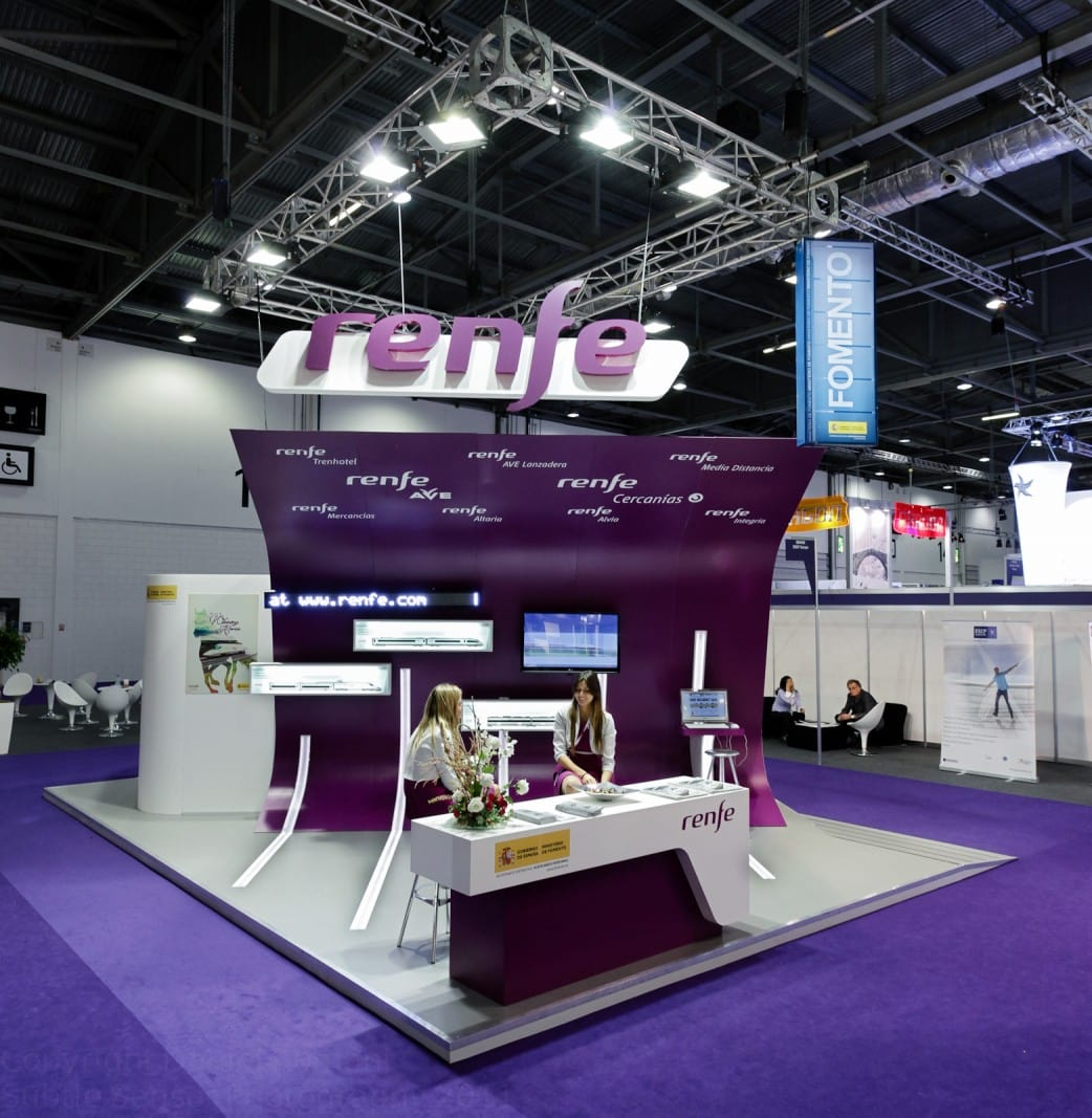 Photograph of the Renfe stand (empty) at WTM, London