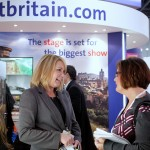 Photograph of exihibitor and delagate networking on the Visit Britain stand at WTM