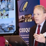 Photograph of speaker at CEEQUAL awards conference in London