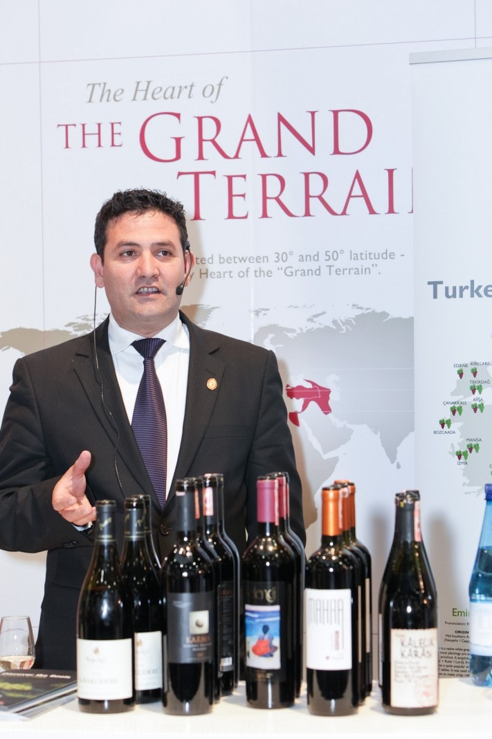 Photograph of speaker on Turkey's stand at LWF