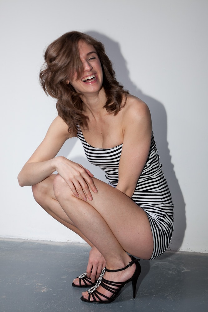 Picture of model laughing when instead of posing.