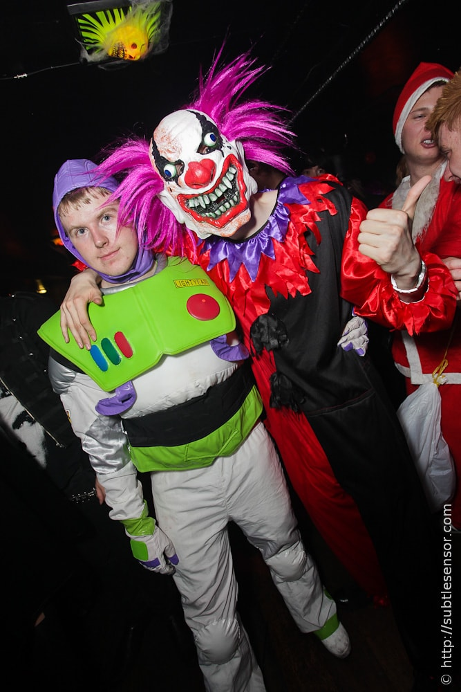 Evil Clown and Buzz Light Year Halloween costumes
