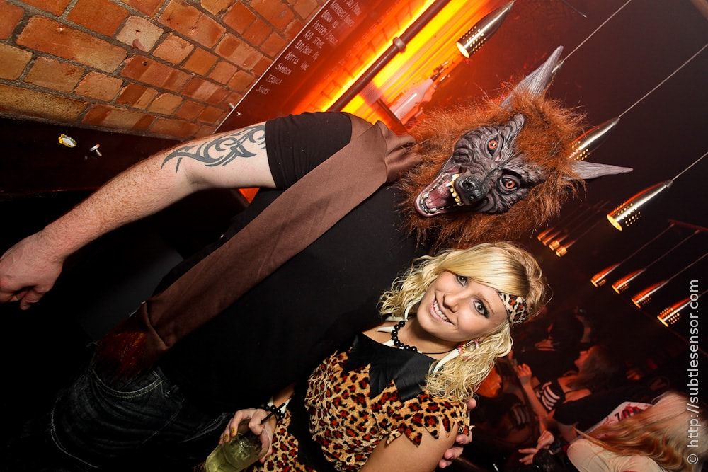 Wolf Man and Cave Girl fancy dress costumes