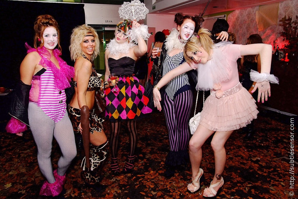 Group of girls in colourful fancy dress costumes