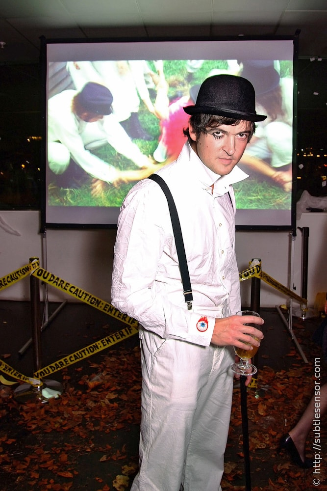 Clockwork Orange Halloween costume with movie playing in background