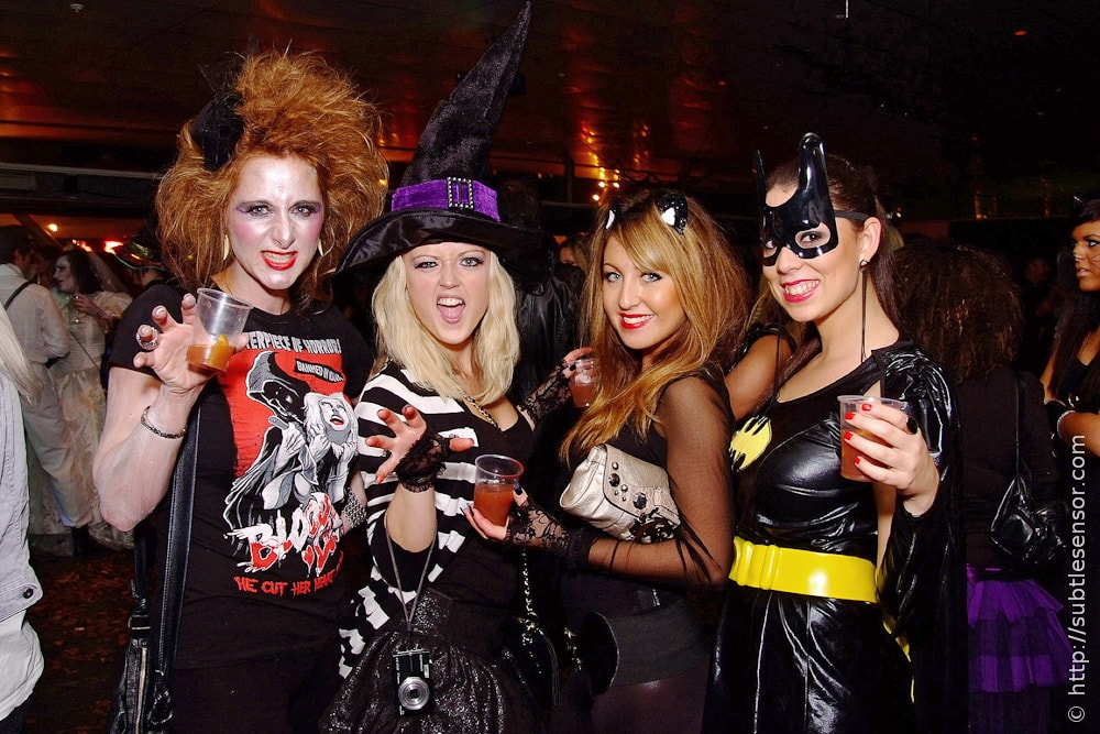 Group of girls in sexy Halloween costumes