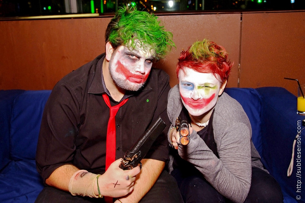 Man and Woman in Joker (Dark Knight) makeup
