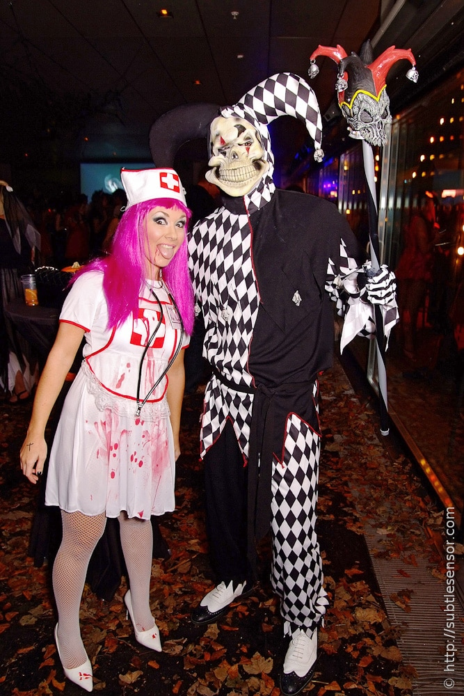 Evil Jester and Sexy Nurse Halloween costumes