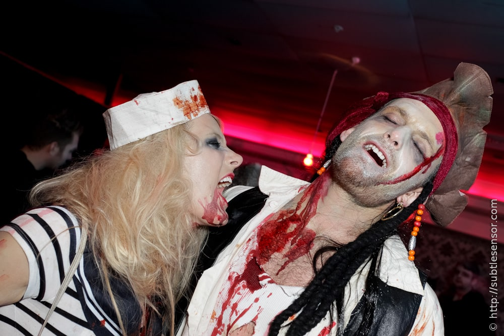 Sexy Vampire Sailor Girl and Hunky Zombie Pirate Halloween outfits
