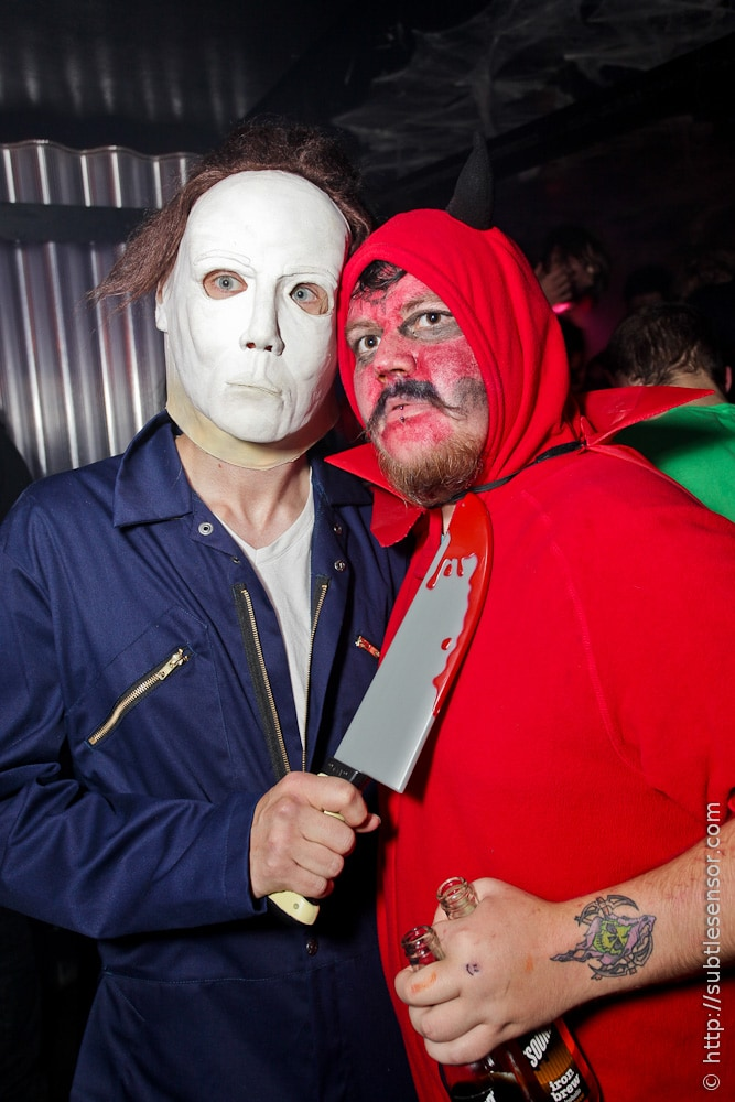 Mike Myers and Red Devil Halloween costumes.