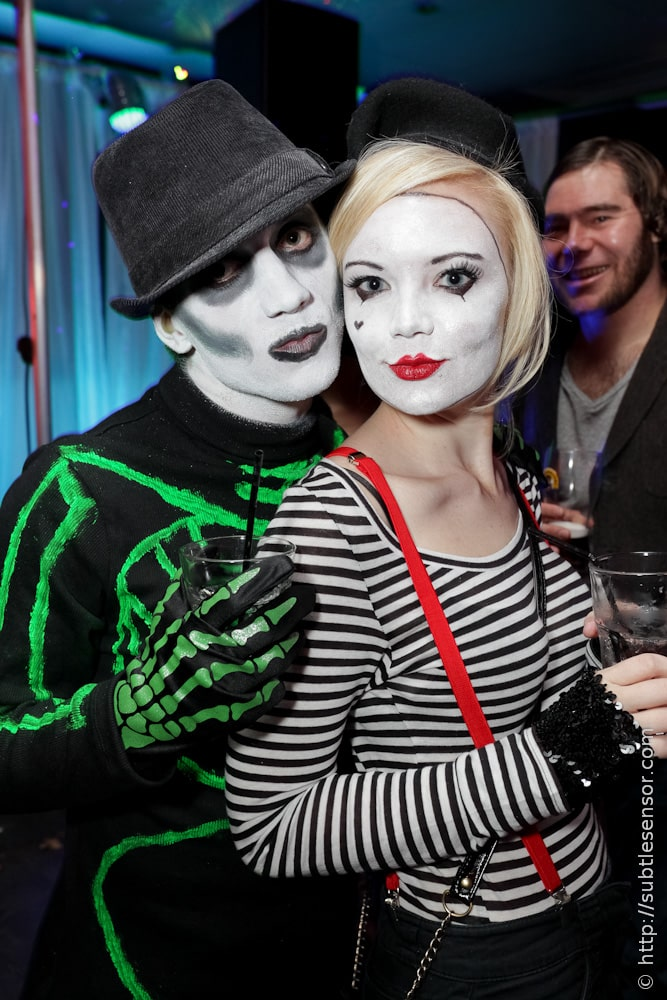 Sexy French Mime Girl and Green Skeleton Halloween outfits
