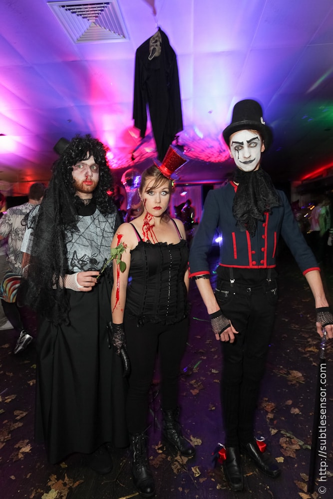 Scary Halloween Trio in nightclub