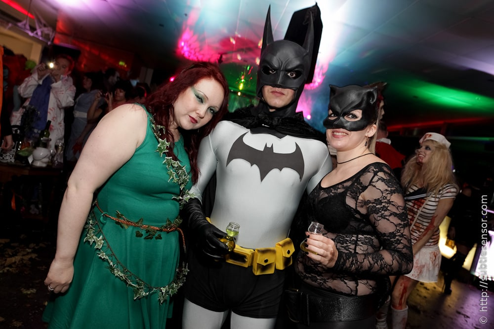 Old-school Batman, Batgirl and Poison Ivy costumes.