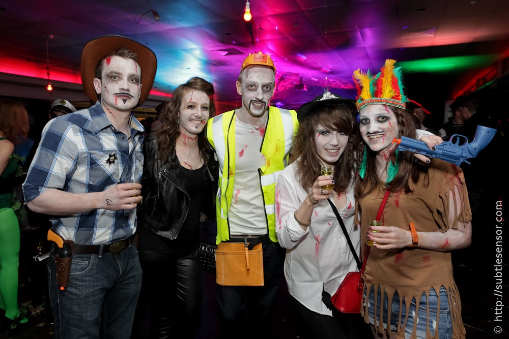 Mixed group of halloween partygoers - Zombie YMCA