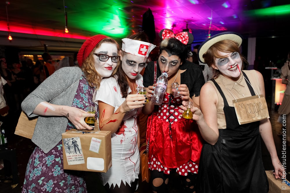 Group of girls in scary Halloween costumes