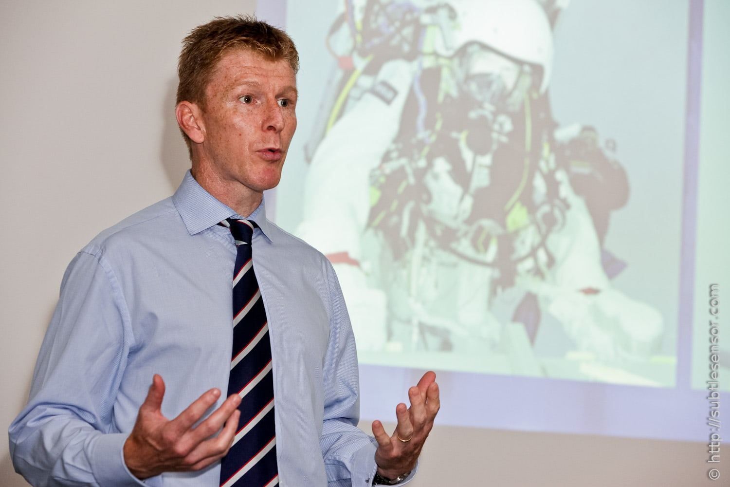British Astronaught Tim Peake giving a speech at UK Space Conference