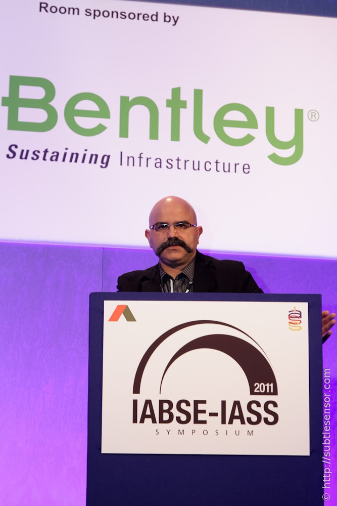 Speaker with branding at the IABSE-IASS conference 2011