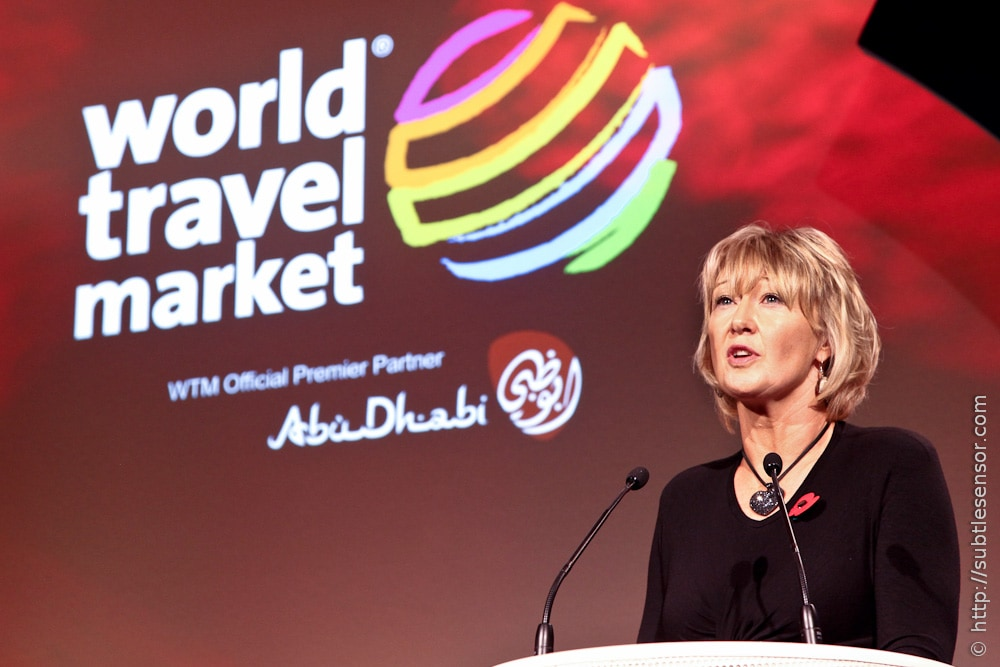 Fiona Jeffery addresses delgates at WTM 2011 opening conference.