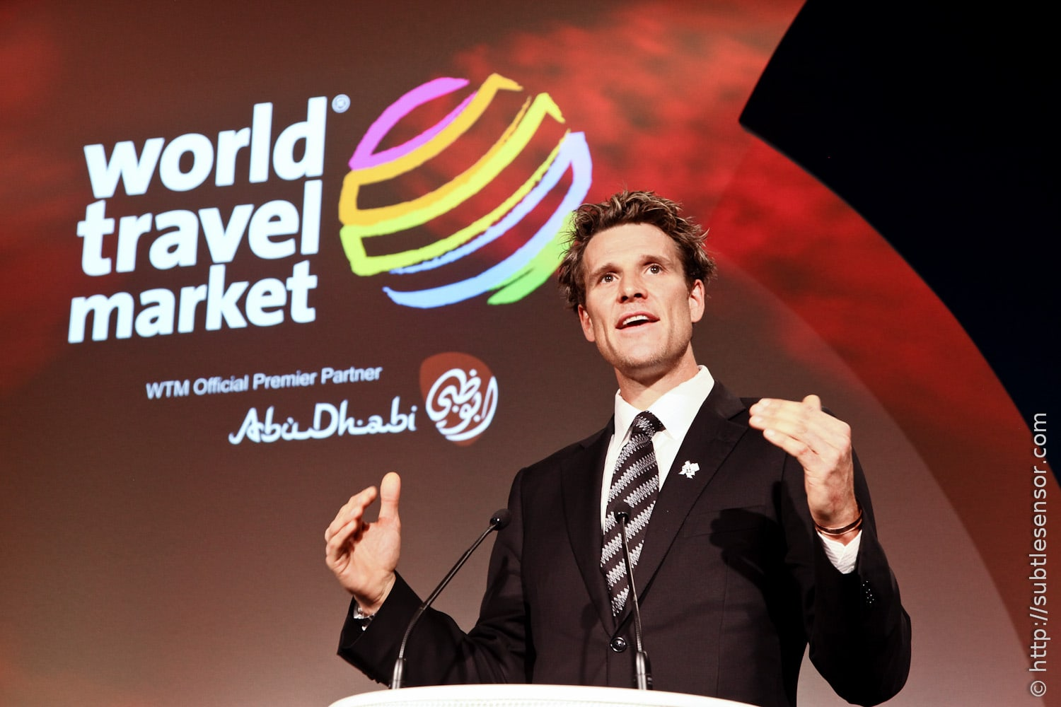James Cracknell OBE giving an inspiring speech at World Travel Market 2011