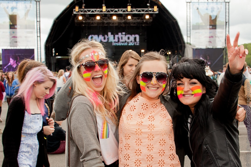 Face painted girls enjoying Evolution 2012 Festival, Newcastle