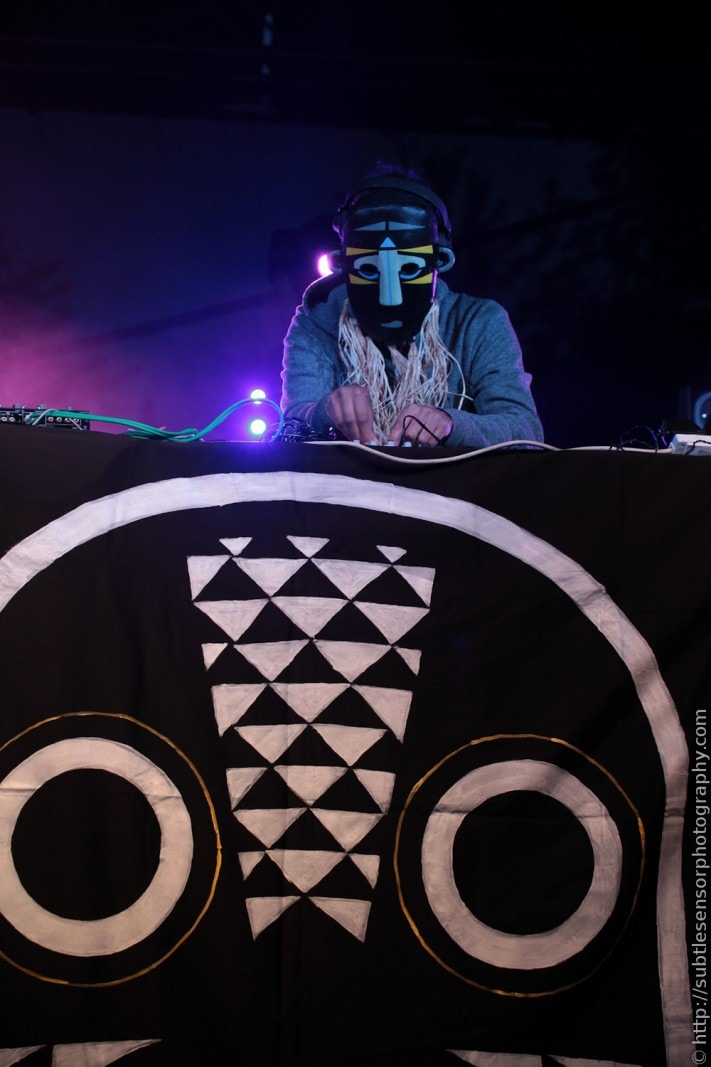 DJ sensation SBTRKT headlining the dance stage at Evolution Festival
