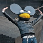 Deadmau5 greets the Newcastle audience at Evolution Festival