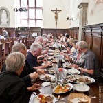 Communal dining in the refectory