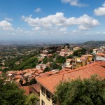 An Italian village seen sprawling through the Alban Hills outside of Rome