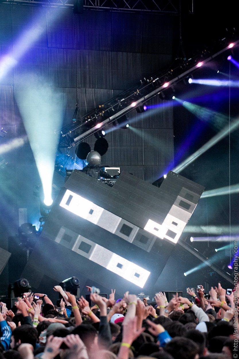 Canadian DJ/Producer Deadmau5 onstage at Newcastle's Evolution Festival 2012