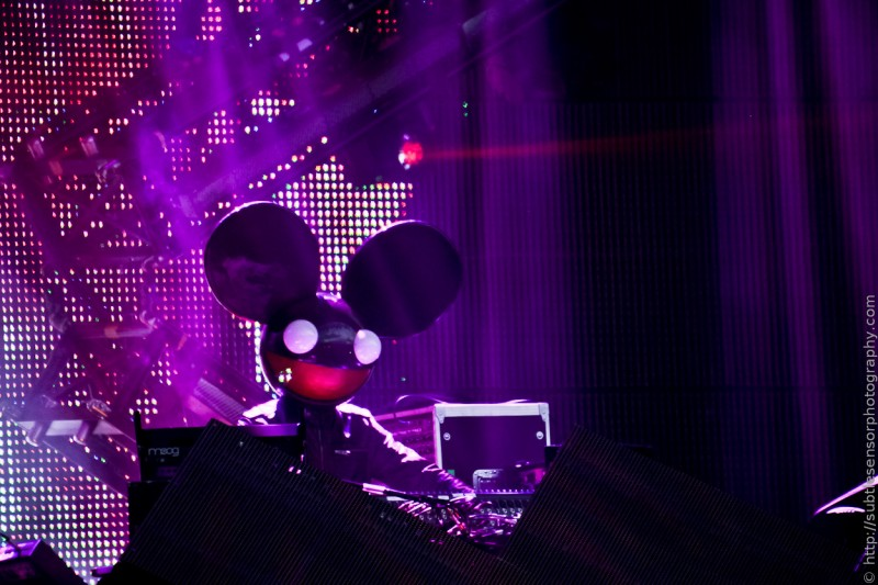 Deadmau5 wow's the Newcastle crowd with his customary light show on day 2 of the Evolution Festival