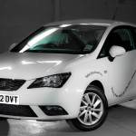White SEAT Ibiza with Tusker Direct Branding